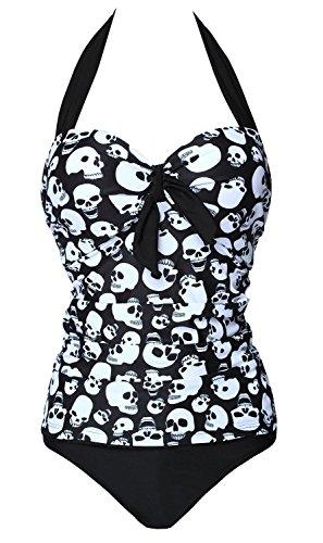 Skulls Print Retro Vintage Style Swimsuit
