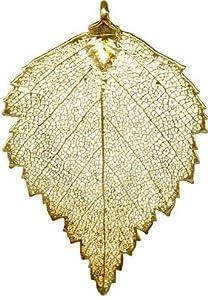 New 24 Karat Gold Plated Birch Leaf Pendant
