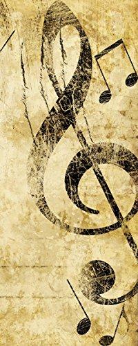Wallario-Poster-Musik-als-Leidenschaft-Notenschlssel-in-braun-in-Premiumqualitt-Gre-50-x-125-cm