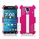 Kyocera Hydro EDGE C5215 WHITE AND HOT PINK HARD PLASTIC HYBRID KICKSTAND COVER