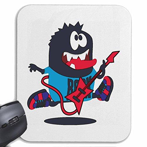 "Mousepad ""Monster Rock Star con chitarra rock band Chitarra Elettrica Sneakers Musica caso Concerto"" per Laptop, Notebook o PC Internet.. (con Windows, Linux, ecc.). In bianco"