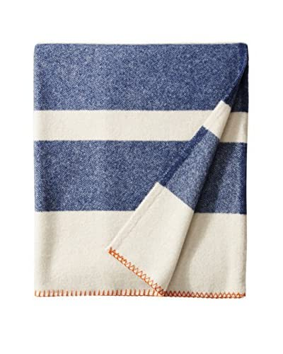 Bambeco Rugby Striped Wool Throw, Navy/Winter White