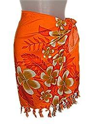 HAWAIIAN ORANGE PLUMERIA FLOWERS CHILDRENS GIRLS / PRE-TEENS SHORT SARONG