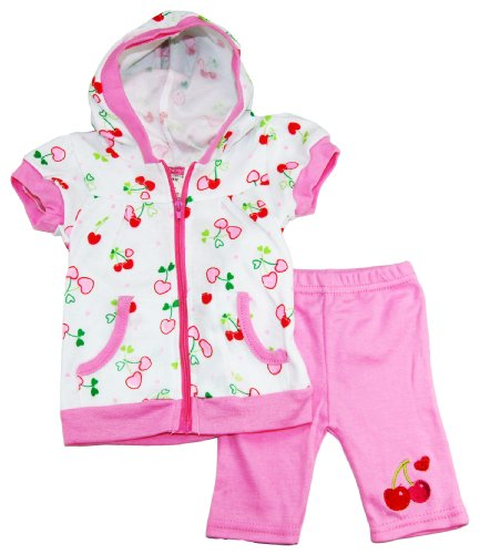 Coney Island Baby Girls Cherry Love Hooded Zipped Top With Capri Set 3-6M Pink front-642168