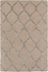 Beige Wool Rug Contemporary Carpet 3-Foot 6-Inch Round Hand-Made Trellis