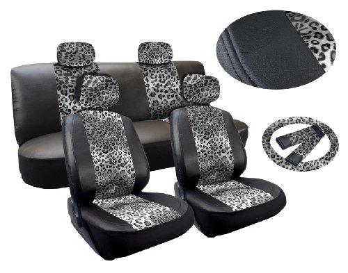 Gray Leopard Deluxe Leatherette 13Pc Full Car Seat Cover Set Premium Synthetic Leather Double Stitched - Low Back Front Bucket Seats - Rear Bench - Steering Wheel Set - 4 Headrests