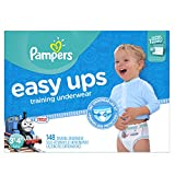 Pampers Easy Ups Training Pants Pull On Disposable Diapers for Boys Size 5 (3T-4T), 148 Count, ONE MONTH SUPPLY