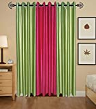 Indian Online Mall Plain Door Curtain (Pack of 2), Green and Dark Pink