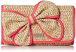 kate spade new york Belle Place Straw Viv Clutch, Natural/Geranium, One Size