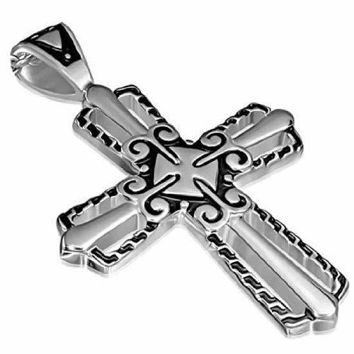 Urban Male Men'S Stainless Steel Two Colour Cross Pendant 63Mm
