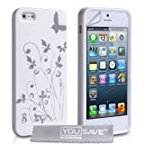 iPhone 5 Floral Butterfly Silicone Case - White / Silverby Yousave Accessories