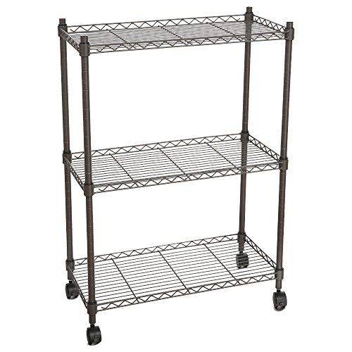 save 54 homdox 3 tire wire shelving unit with wheels gray. Black Bedroom Furniture Sets. Home Design Ideas
