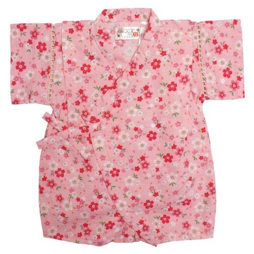 甚平 ロンパース ベビー 女の子 綿100% 日本製生地 サクラ 和柄 じんべい ロンパース 甚平 ピンク 70cm