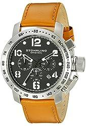 Stuhrling Original Men's 641.02 Monaco Quartz Multi-Function Chronograph Tachymeter Date Brown Leather Strap Watch
