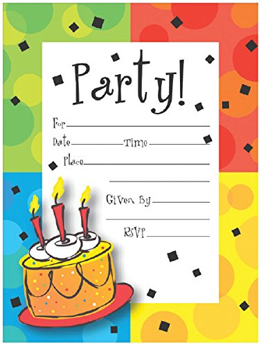 Creative Converting 8 Count Cake Celebration Postcard Party Invitations, Multicolor - 1