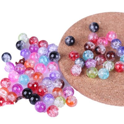 WAWO 50pcs 8mm Mixcolor Crackle Lampwork Glass