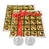 Chocholik's Perfect Combination Of Almond And Fruit & Nut Chocolate Truffles With 5gm X 2 Pure Silver Coins -...