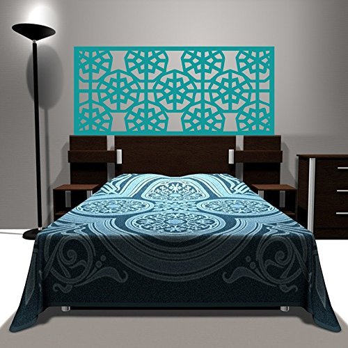Abstract Wall Decal Headboard Geometric Dorm Decor Shabby Chic Star Snowflake (Teal, Queen)