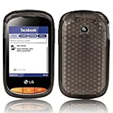 Black Grey LG Cookie Style T310 Hexagon Diamond Shape Hydro Soft Hex TPU Silicone Gel Skins Mobile Phone Case Cover