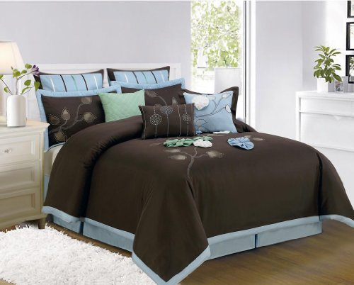 Nice  Piece King Salzer Brown Bed in a Bag w TC Cotton Sheet Set