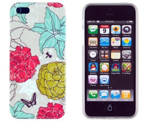Vintage Floral Flexible Tpu Case With Clear Sides For Apple Iphone 5S & Iphone 5 [Retail Packaging By Dandycase] front-560908