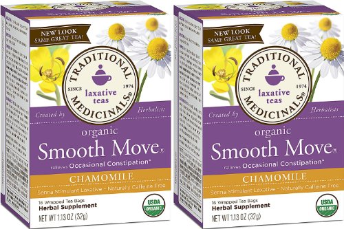 Traditional Medicinals Organic Smooth Move Herbal Tea Chamomile 2-pack;32 Count.