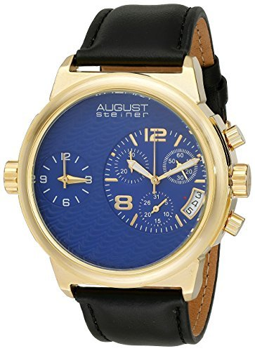 August Steiner Men's AS8151YGBU Yellow Gold Dual Time Zone Swiss Chronograph Quartz Watch with Blue Dial and Black Leather Strap by August Steiner