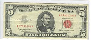 FIVE DOLLAR BILL-RED SEAL-1963-UNITED STATES NOTE