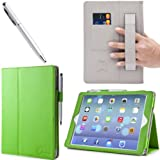 i-BLASON Apple iPad Air / iPad 5 Auto Wake / Sleep Smart Cover Leather Case (Elastic Hand Strap, Multi-Angle, Card Holder) With Bonus Stylus (Multi-Color to Choose From) 3 Year Warranty (Green)