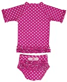 RuffleButts Toddler Girl Berry Polka Dot Ruffled Rash Guard Bikini