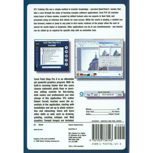 Corel Paint Shop Pro X Essentials VTC Training CD Robert Correll