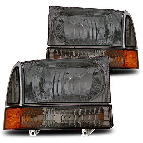 For 00-04 Excursion/99-04 F250/F350 Smoked Lens Crystal Headlights With Bumper Lights Set (F350 Smoked Headlights compare prices)