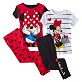 Disney Minnie Mouse Girls 4-Piece Short Sleeve Cotton Pajama Set, Sizes 4-8