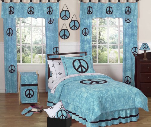 Turquoise Groovy Peace Sign Tie Dye Children'S Bedding 4Pc Twin Set By Sweet Jojo Designs front-223499