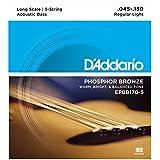 D'Addario EPBB170-5 Phosphor Bronze 5-String Acoustic Bass Strings, Long Scale, 45-130