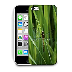 Snoogg Dragonfly In Green Grass Printed Protective Phone Back Case Cover For Apple Iphone 5C