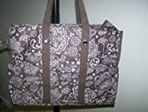 Thirty One Super Organizing Tote Brown Woodblock Floral