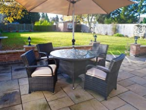 Georgia Outdoor Patio Furniture: Round 4 Seater Dining Set with Parasol from Whitaker Cane Furniture