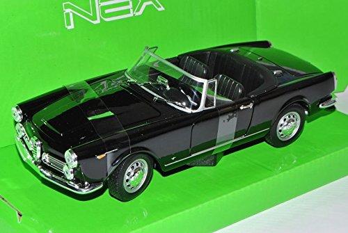 Alfa-Romeo-Spider-1960-2600-Schwarz-Offen-Cabrio-1961-1969-124-Welly-Modell-Auto-mit-individiuellem-Wunschkennzeichen