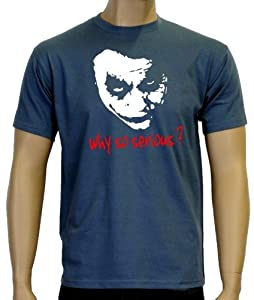 Coole-Fun-T-Shirts Herren T-shirt Why So Serious ? Joker, Stoneblue, L, 10868 by Coole-Fun-T-Shirts