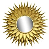 Logam Sunflower Gold Finish Round Mirror