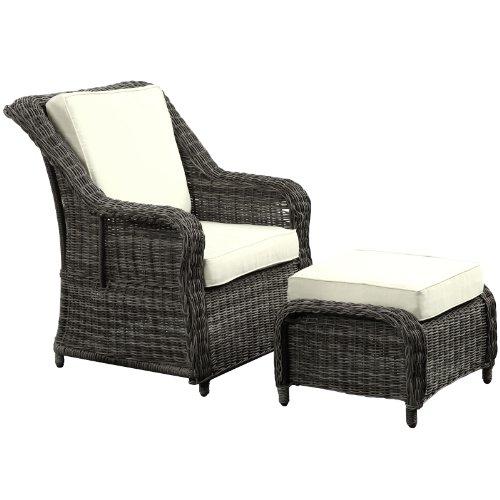 LexMod Du Jour Outdoor Wicker Rattan Chair and Ottoman Set