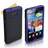 Blu E Nero Silicone Gel Duro E Morbido Custodia Per Samsung Galaxy S2 i9100 Con Schermo Pellicola Protezione Da Yousavedi Yousave