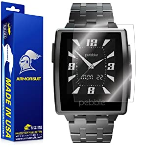 ArmorSuit MilitaryShield - Pebble Steel Smartwatch Screen Protector Anti-Bubble Ultra HD - Extreme Clarity & Touch Responsive Shield with Lifetime Free Replacements - Retail Packaging