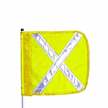 Flagstaff FS12 Split Pole Safety Flag with Reflective X, Male Quick Disconnect Base