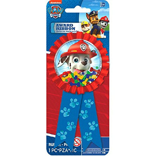 "Amscan Amazing Paw Patrol Birthday Party Confetti Pouch Award Ribbon (1 Piece), Blue/Red, 5 3/4 x 3 1/8"" - 1"