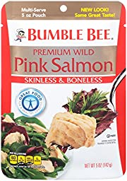 Bumble Bee Foods Wild Pink Salmon, Skinless & Boneless, 5-Ounce Pouches (Pack of 12)
