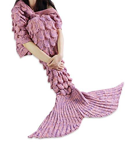 iiniim Meerjungfrau Decke Handgemachte Gestrickte Meerjungfrau Schlafsack Kuscheldecke Sofadecke Wohnzimmer Decke für Erwachsene und Kinder (Einheitsgröße, Korallenrosa(Erwachsene))