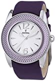 Festina Women's Quartz Watch with Silver Dial Analogue Display and Purple Leather Strap F16592/4