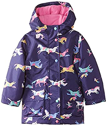 Joules Girl's Junior Kirsty Fleece Lined Animal Print Raincoat, Blue (Navy Pony), 3 Years